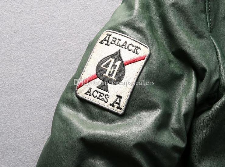 AVIREX FLY deri aşağı ceket ACES a1702 erkekler koyun hakiki deri giyim Beyzbol üniforma ceket 300g kaz tüyü YKK fermuar