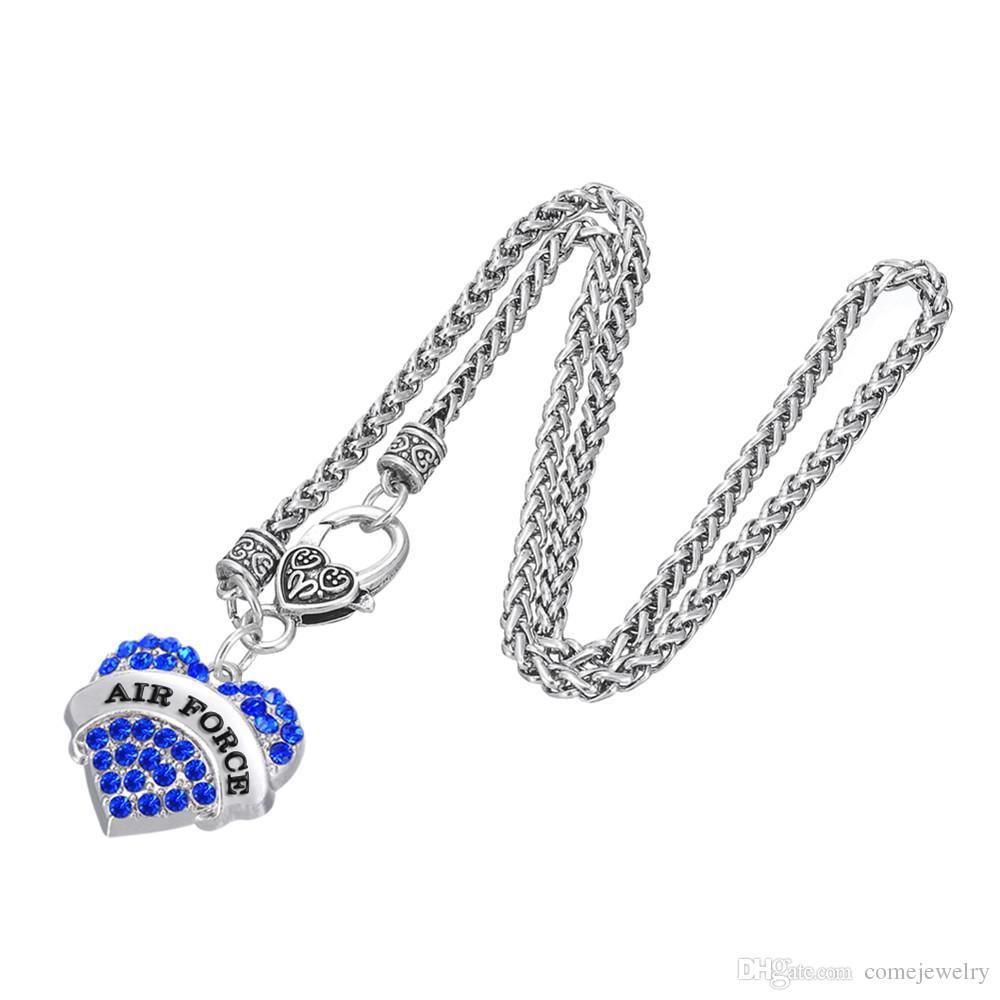 3 Farbe Herz Kristall Charme Gravierte Brief AIRFORE Anhänger Karabinerverschluss Klaue Gliederkette Dicke Halsketten Diy Schmuck