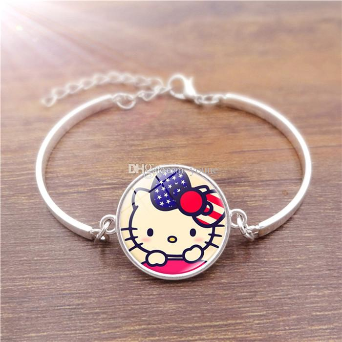 New 5PCS Vintage Jewelry Silver Plated with Glass Cabochon Cartoon DIY KT Cat Pattern Statement Charm Bracelet Bangle for Women Gift