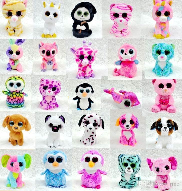 2018 Ty Beanie Boos Plush Stuffed Toys Big Eye Animals Soft Dolls