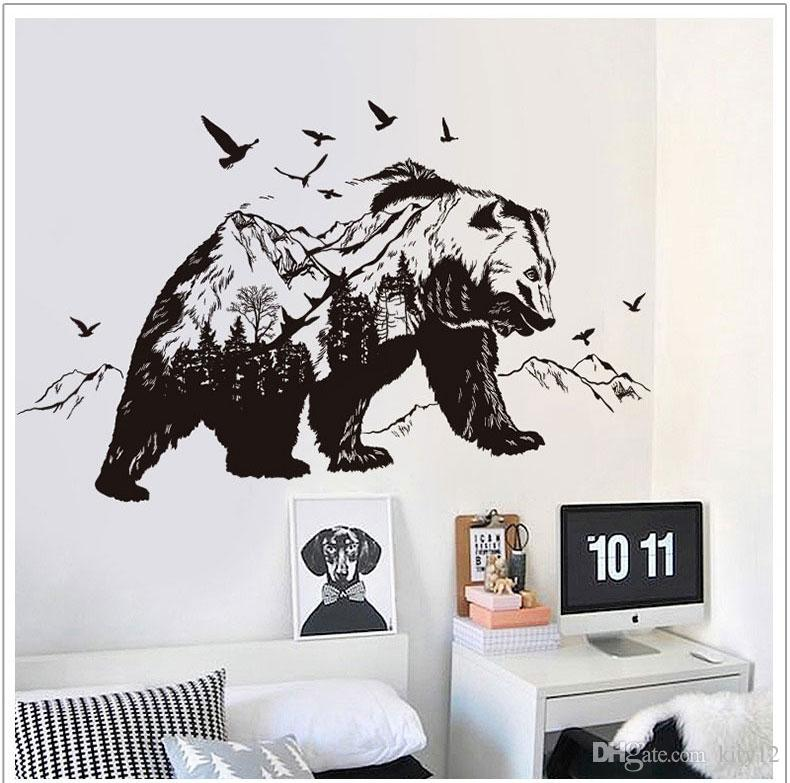 Black Bear Wall Stickers For Children Animals Wall Art Stickers Home