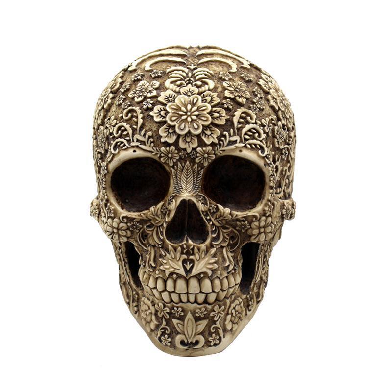 Resin Flowers Skull Realistic Human Skeleton Gothic Halloween Decoration Horrible Skull Head Ornament Halloween Skulls Prop Halloween Ornament Halloween