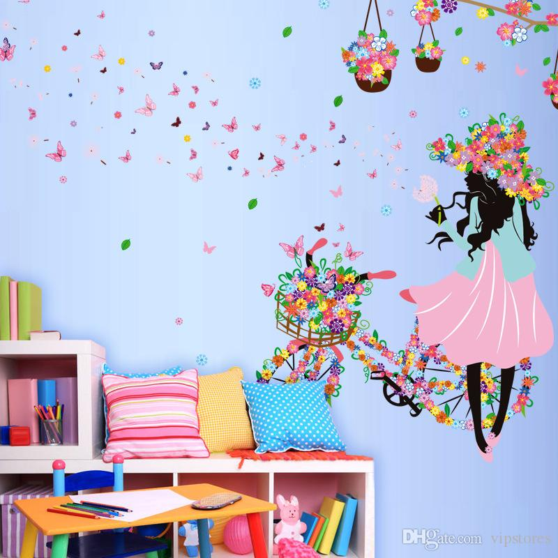 DIY Beautiful Girl home decor wall sticker flower fairy wall sticker decals Personality butterfly cartoon wall mural for kid's room