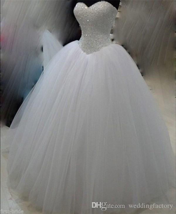 Bling bola vestido de bola corsé hinchado vestido de novia beadas lentejuelas cristales top cariño sin mangas de encaje hacia arriba tul vestido de novia vestido de novia vestido de novia