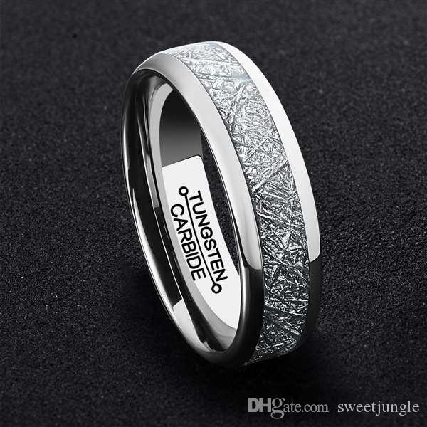 New 6mm Silver MenS Tungsten Carbide Ring Middle Inlaid Meteorite Paper Polishing Wedding Band Mens Jewelry Opal Rings Bands For Women From