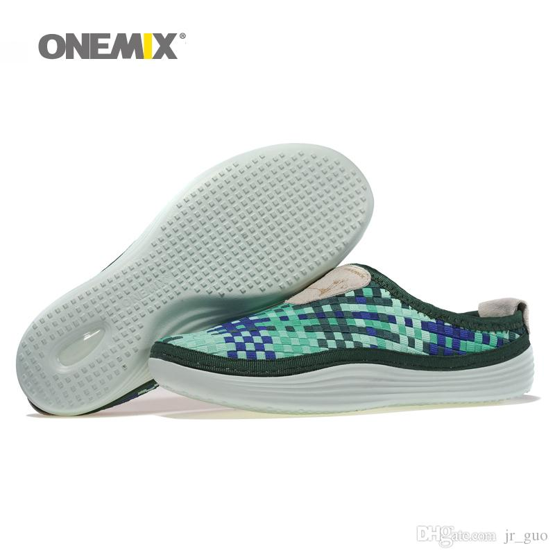08e98a8c7fd40d ONEMIX Man Slippers for Men Weaving Lightweight Breathable ...