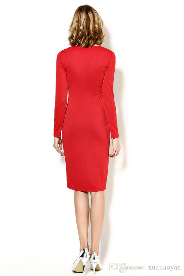 Hot Sale Wholesale Womans Clothes 2019 New Arrivals Long Sleeve Midi Dress Office Ladies Work Pencil Dresses Dark Red