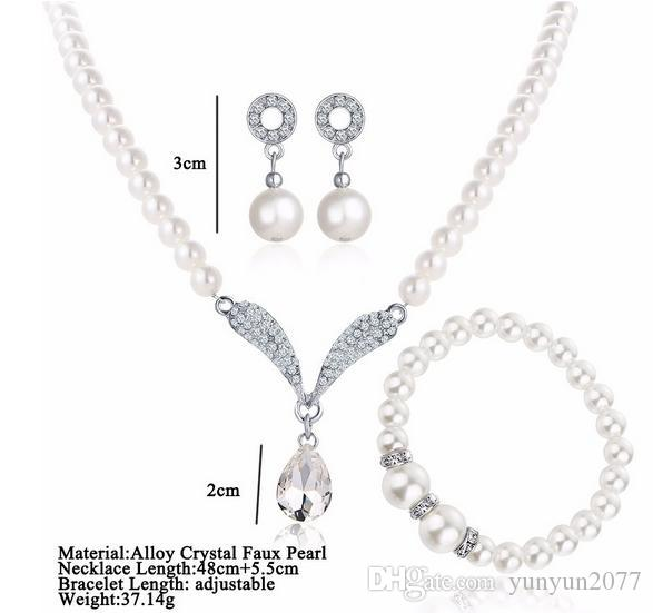 \Fine Accessories Jewelry sets Pearls Rhinestones Bridal Wedding Chokers Chains Necklaces Circle Angel Wings Drop Dangle Earrings For Women