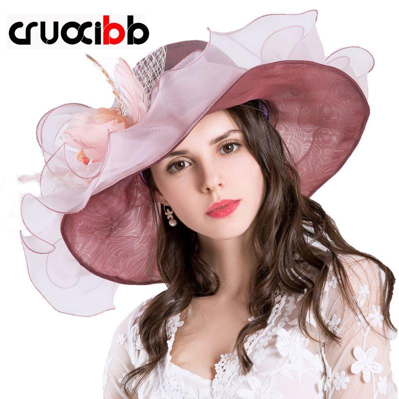 Fashion New Design Flower Yarn Kentucky Derby Caps Women Sun Hat Summer Hat  For Women Ladies Party Beautiful And Elegant Chapeu Feminino Tea Party Hats  Rain ... bdd9a5773db