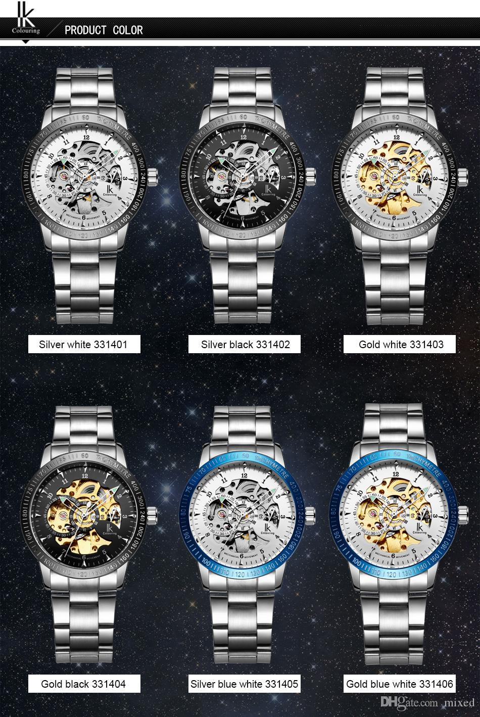 IK Colouring 98226G Double Hollow Automatic Mechanical Watches Through the End of Men's Fashion