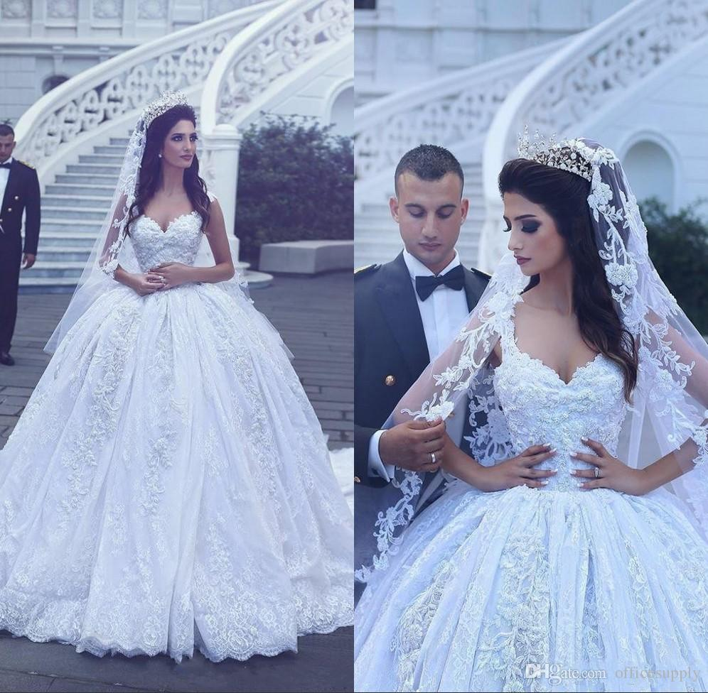 Discount 2018 Arabic Luxury Ball Gown 3d Flower Lace Wedding Dresses ...