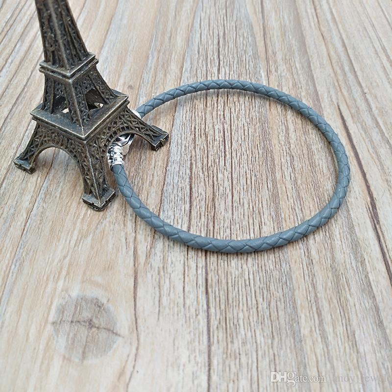925 스털링 실버 순간 단일 짠 가죽 팔찌 - 그레이 유럽 판도라 스타일의 보석 매력 구슬 손으로 만든 적합 590705CSG-D