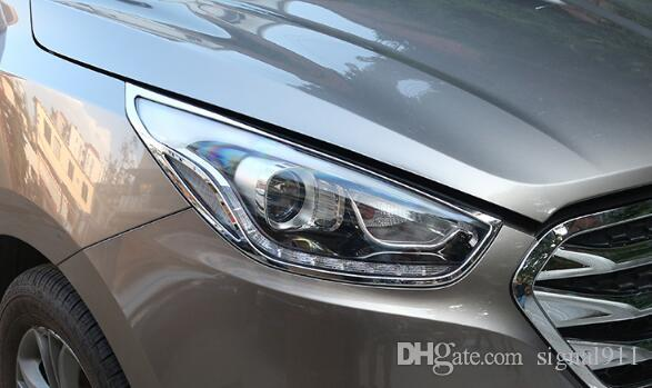 Qualität ABS-Chrom 2ST Scheinwerfer Dekoration Verkleidungsabdeckung + Rücklicht-Dekoration Verkleidungsabdeckung für Hyundai IX35 Tuson 2012-2015