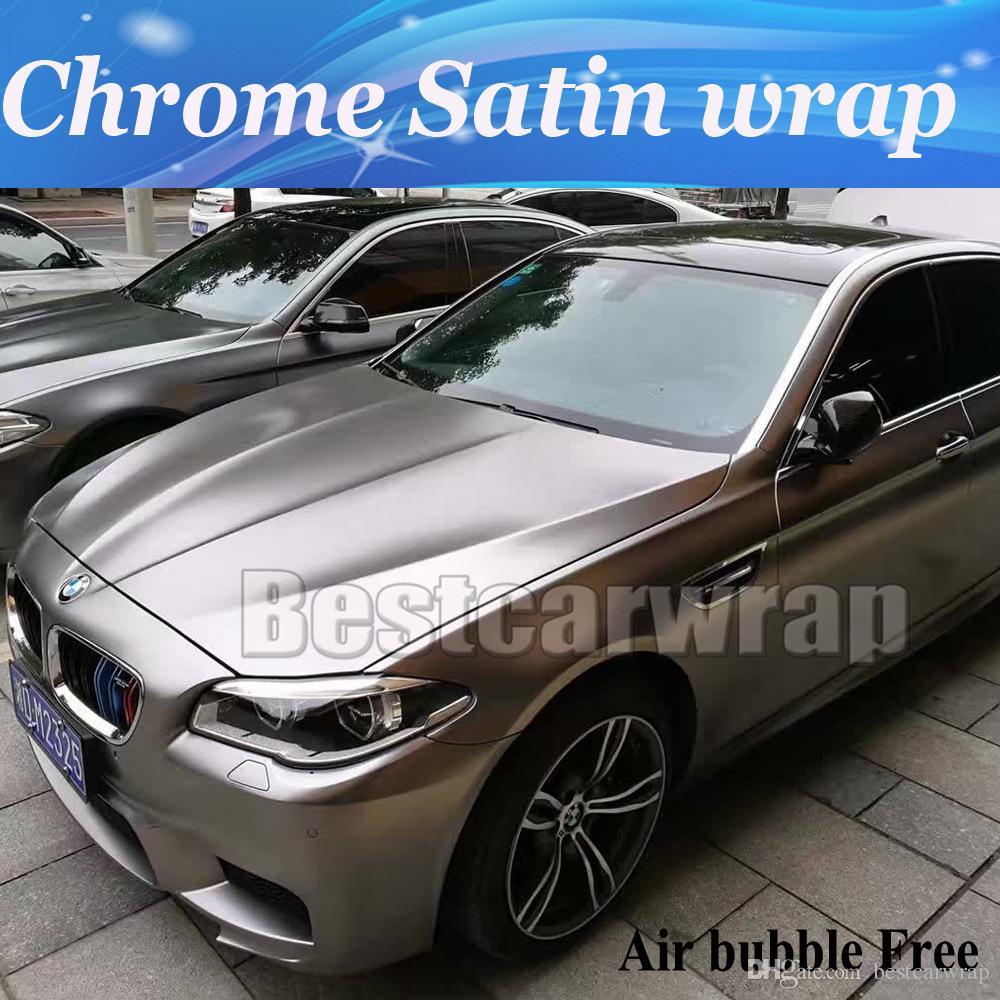 Top Quality Grey Chrome Satin Vinyl Car Wrap Styling Foil