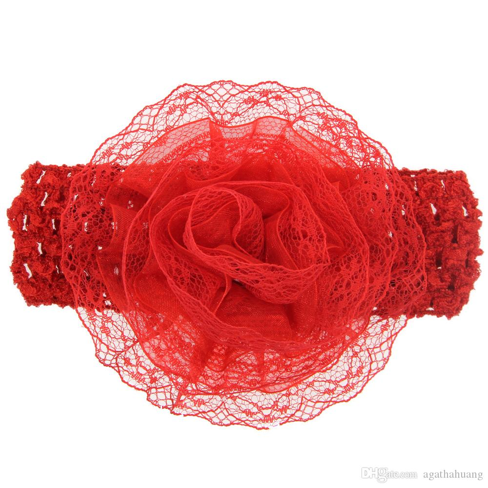 Babies Lace Flower Headband Toddler Girl Vintage Fabric Hairband Wide Crochet Elastic Band For Sale Boutique Retail