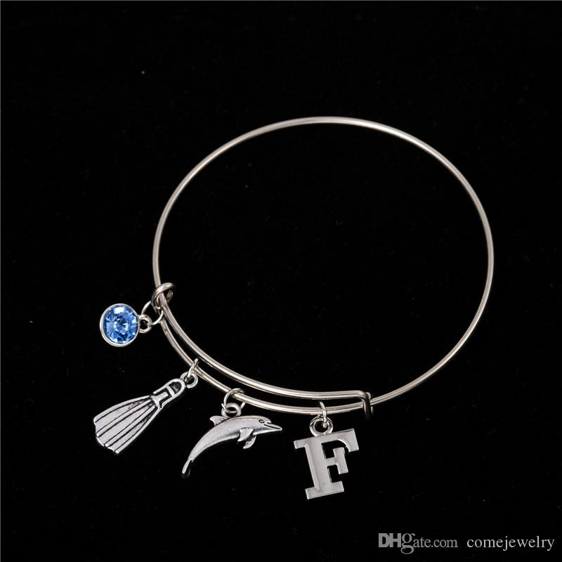 Myshape Cool Fashion Stainless Steel DIY Charms Bracelet Blue Crystal Dolphine Sea Marine Style Pendant Bangle Wristbands
