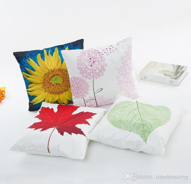 Spring summer plant pillowcase Sunflower maple leaves dandelion pattern pillow cases Digital printed imitated silk fabric cusion cover