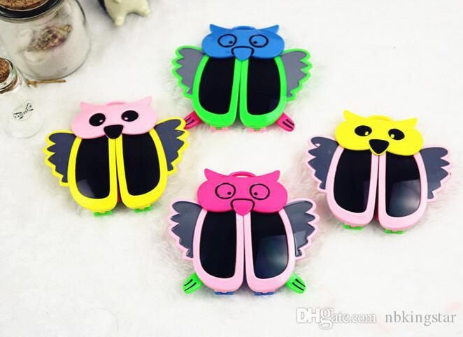 New Kids Sunglasses Fashion Cartoon Style Folding Baby Owl Sunglasses Children Goggles UV400 24pcs/Lot Free Shipping