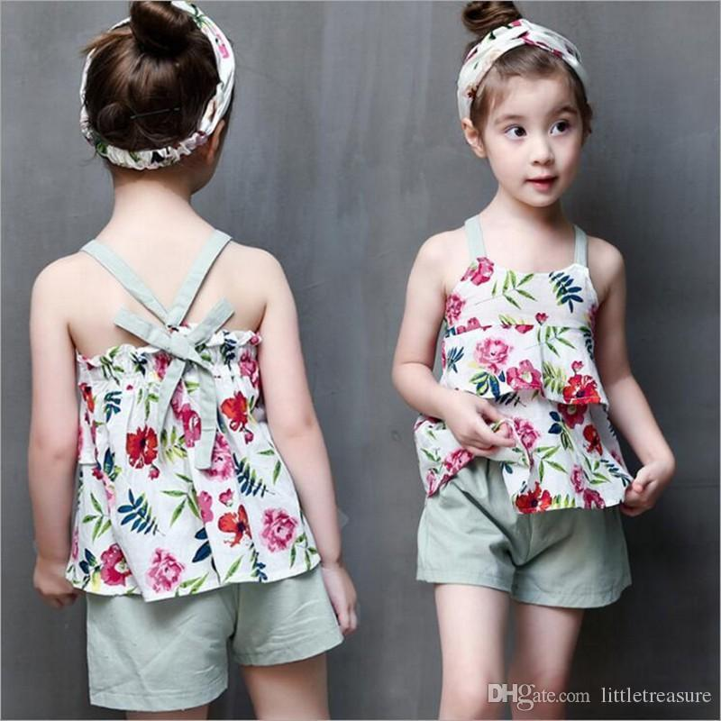 2018 2017 Summer Fashion Baby Girls Clothes Children Outfits Cotton Camisole Little Floral Tops Pants Sets Kids Clothing From Littletreasure