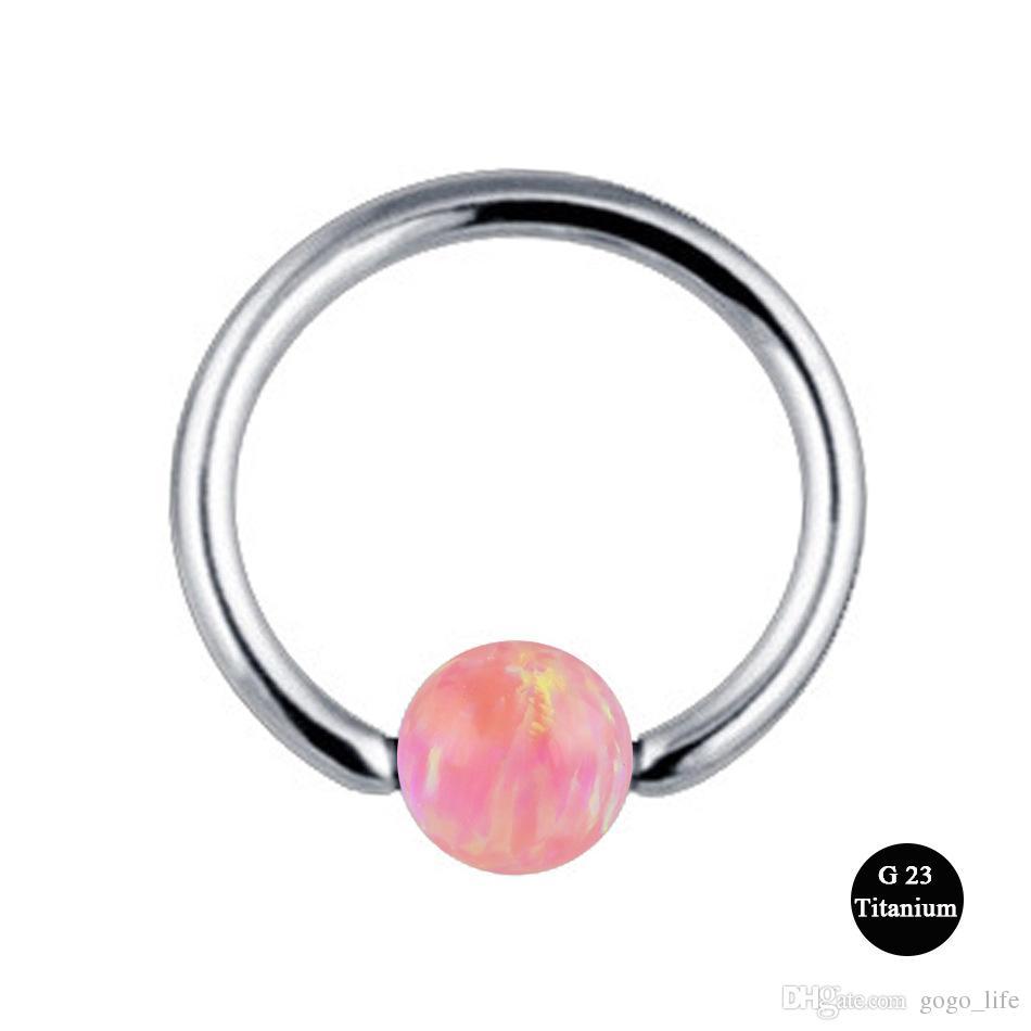 1 stück G23 Titan Septum Piercing Nasenring Opal Ball Verschluss Nippel Lip Tragus Augenbraue Ohrring Nasenringe Körperschmuck