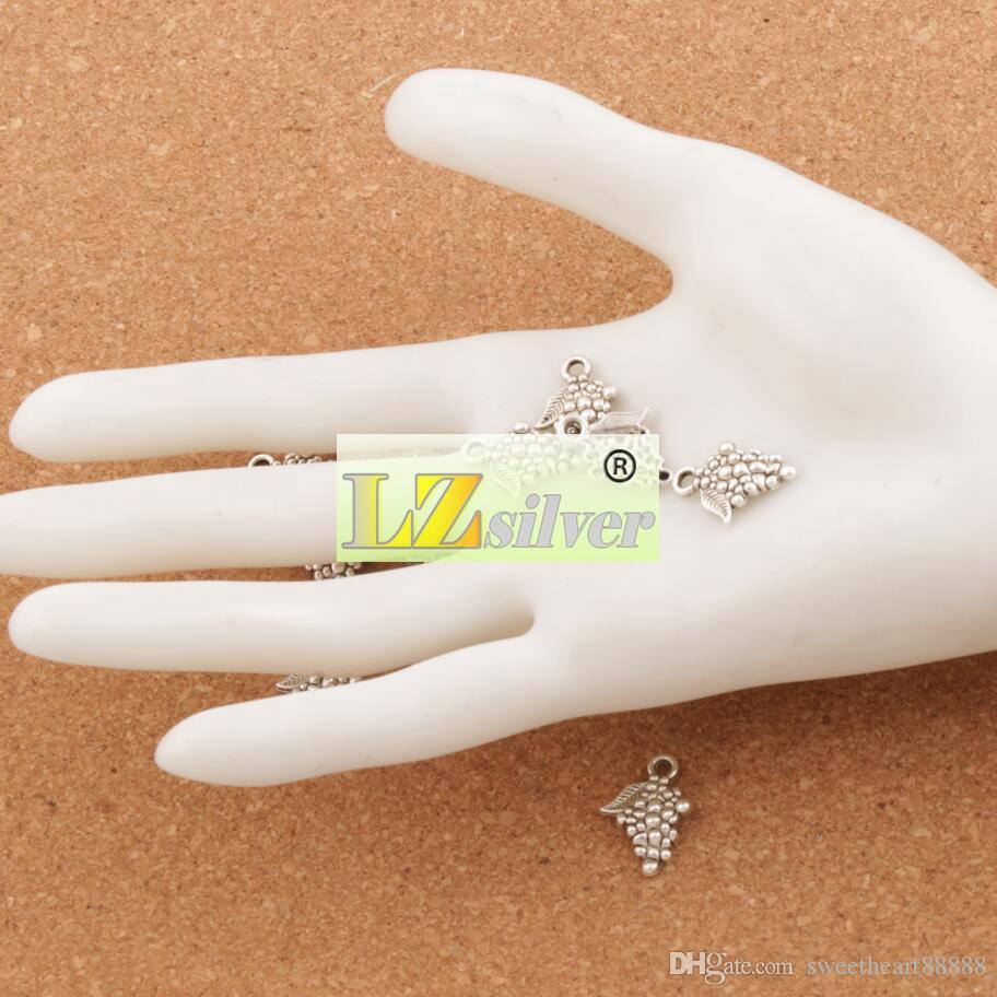 Uva Fruta Encantos Pingentes 200 pçs / lote 18x12.8mm Jóias de Prata Antigo DIY L363 Jóias Achados Componentes