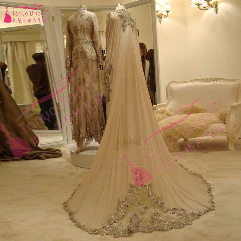 Champagne Long Wedding Cape Luxury Bridal Bolero Wonderful wedding accessories beaded shinny Wrap Elegant Modern Z917