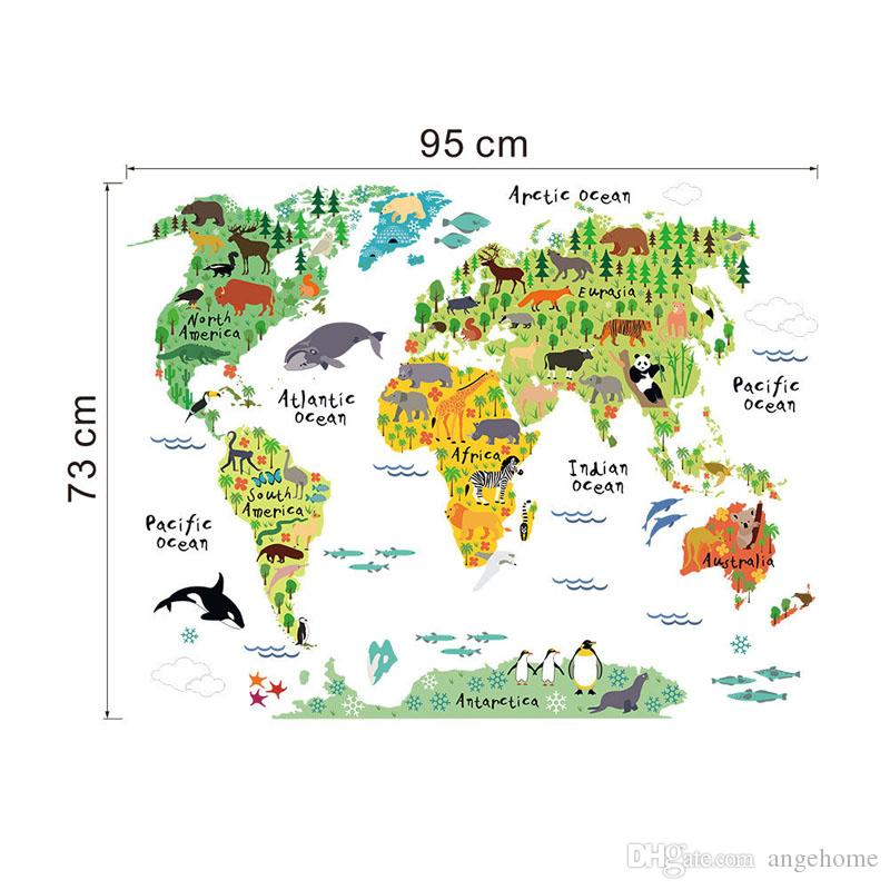 colorful animal world map wall stickers for kids rooms living room home decorations pvc decal mural art diy office wall art