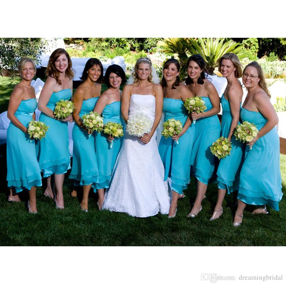2017 Cheap Blue Bridesmaid Dresses A Line Strapless Tea Length With ...