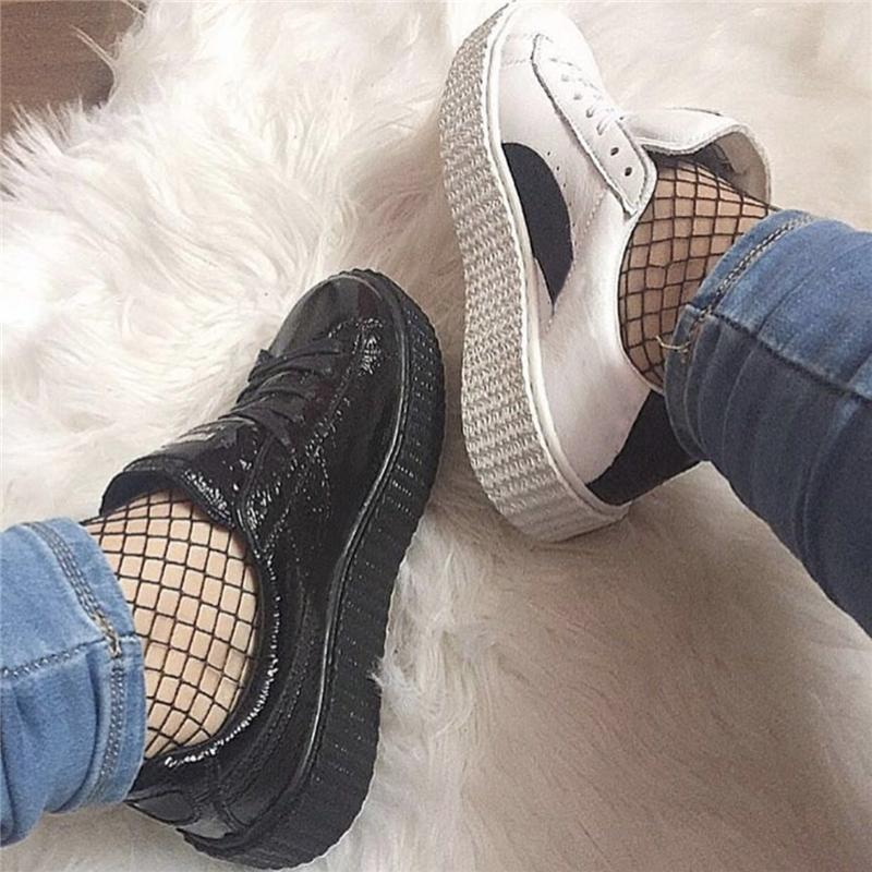 d52e5cda549a7a 2017 Discount Buty Rihanna Fenty X Suede Creeper Casual Shoes Fashion Men Women  Black White Wrinkled Velvet Trainers Size 36 44 Shoe Boots Fashion Shoes ...