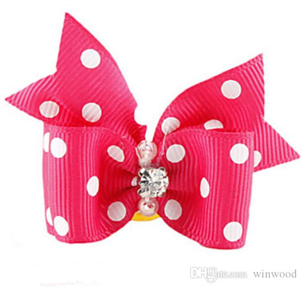 Handmade Fashion Dog Hair Accessories Lovely Pet Hair Bows Grooming Gift Products Cute Dog Show Supplies