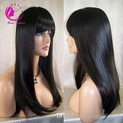 Straight Full Lace Wigs / Lace Front Wigs With Full Bangs 100% Malaysian Unprocessed Virgin Human Hair Wig For Black Women