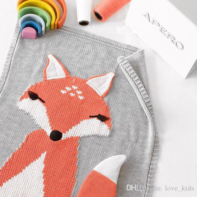 Baby Blanket Newborn Fox Knitting Blanket Bedding Quilt For Bed Sofa Blanket Newborn Photography Props 110*70CM
