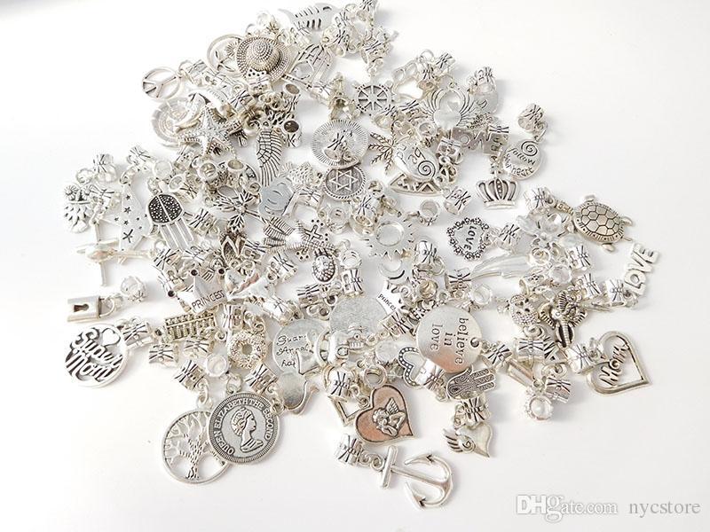 Estilo 200 Estilos Mixtos 925 Colgante de Plata Encantos Granos de Aleación Colgante Granos Del Agujero Fit Encanto Europeo Pandora Pulsera Joyería barato