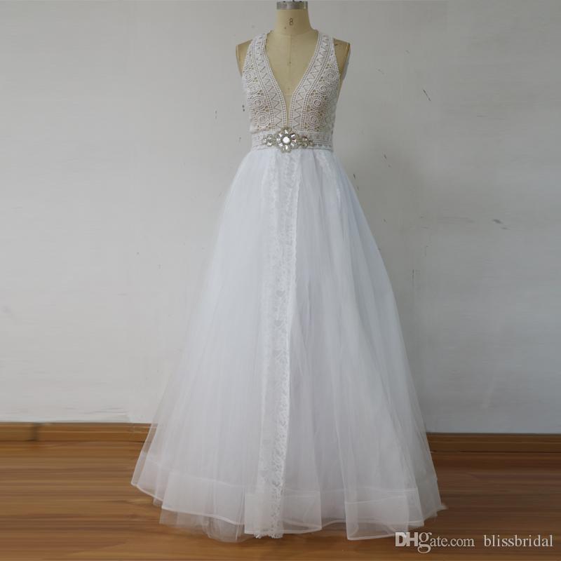100% реальное изображение мягкий тюль линия кружева свадебные платья 2017 Холтер Sexy Open Back Boho Boho свадебные платья слоистых на заказ