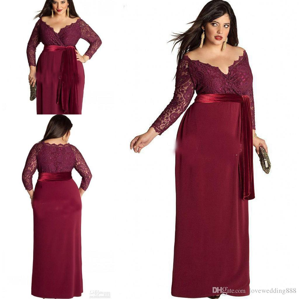 21621d750e4 Plus Size Mother Of The Bride Dresses For Wedding Party Guest Dress  Burgundy 2017 Velvet Lace Long Sleeves Evening Gowns Mother Of The Bride  Dresses Mn ...
