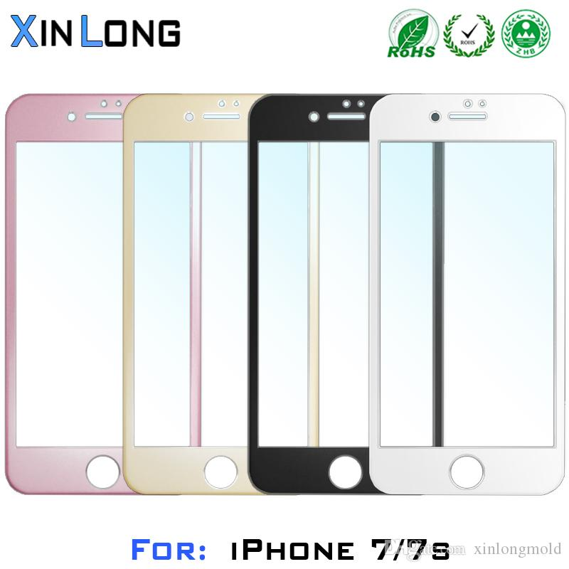 For Iphone 7 plus iphone7 screen Wire drawing aluminum alloy 3D Protector Tempered Glass Full Cover Curved Side with retail crystal package