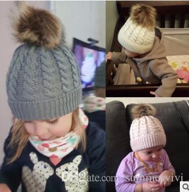 c925c72add7 Winter Kids Knitting Hat Cute Baby Boys Girls Crochet Beanie Fashion ...