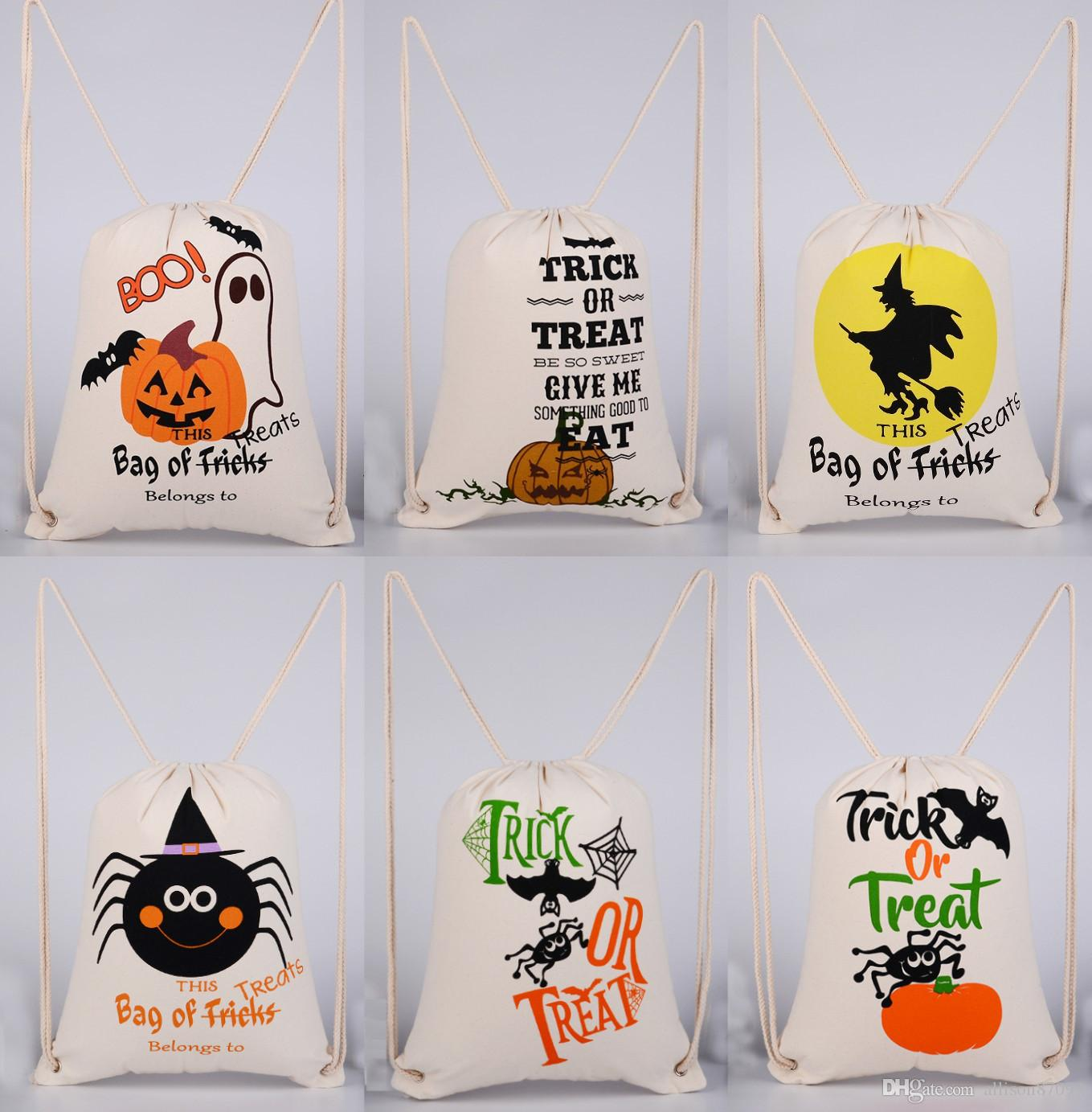 2017 halloween candy bags sackpack drawstring backpack kids cotton canvas gifts trick or treat pumpkin devil spider halloween 2017 new from allison87099 - 2017 Halloween Candy
