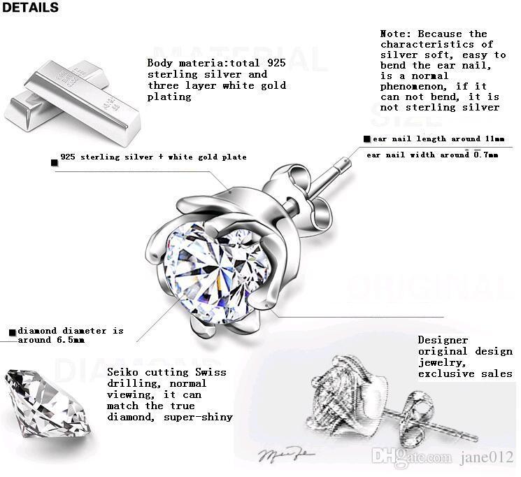 New Design 925 Sterling silver CZ diamond Tornado Earrings Stud Men Women Fashion Jewelry beautiful gift black blue Wholesale