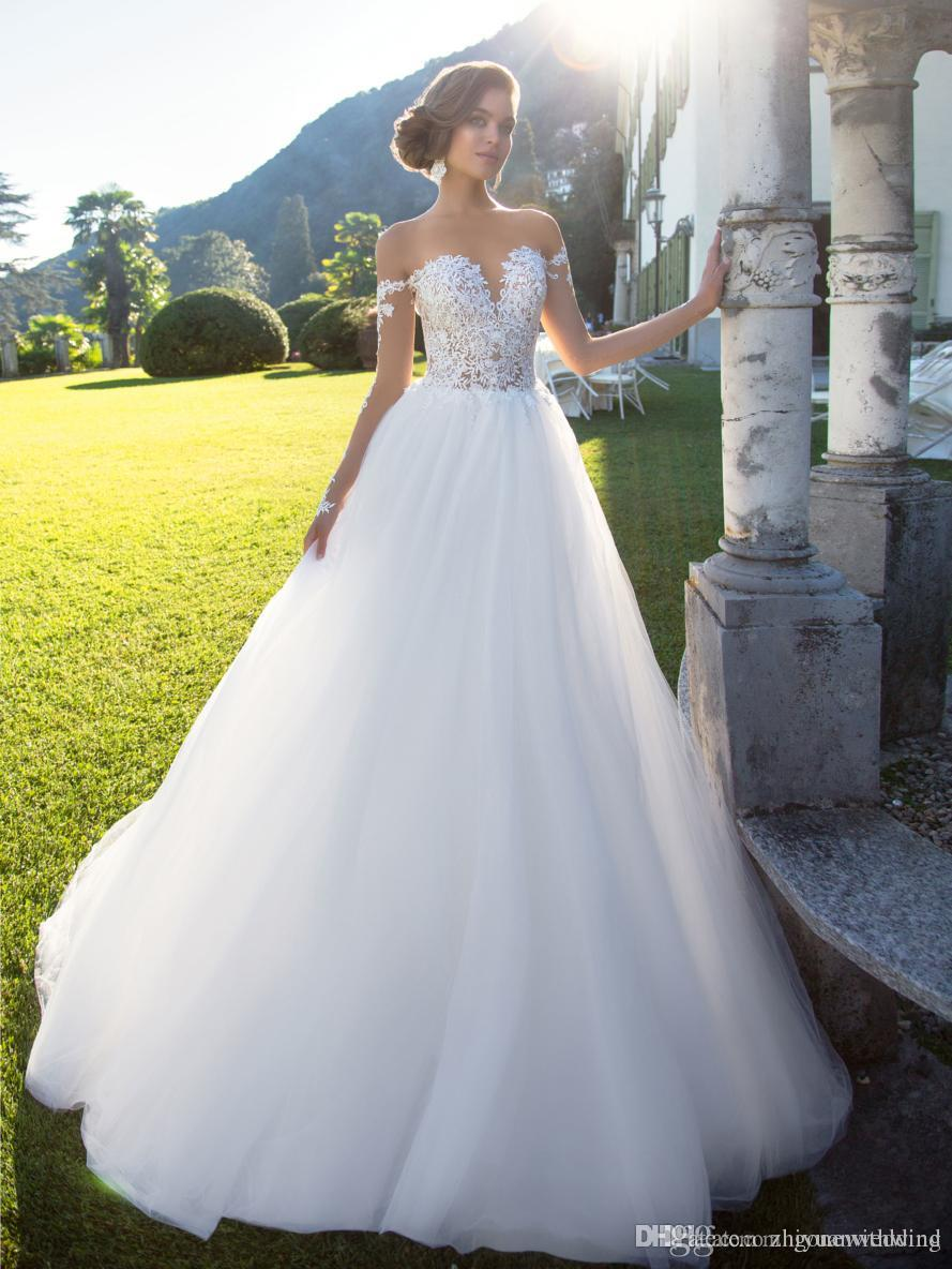 Gorgeous Lush Long Sleeved Corset Ball Gown Wedding Gowns 2017 Milla ...