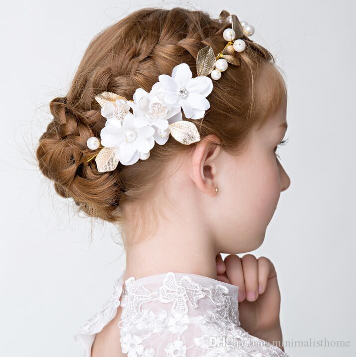 Elegant Gold Leaf Hair Accessories Rhinestones Pearls Floral Girl Hairband Wedding and Gift Hair Jewelry 2017