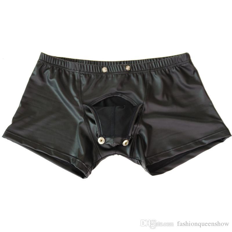 Homens Faux Leather Underwear Novidade Boxer Shorts Night Party Clubwear Botão Briefs Sexy Calcinha Masculina Lingerie