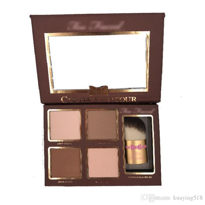 Nuevo COCOA Contour Kit Highlighters Palette Color desnudo Cosméticos Face Corrector Maquillaje Sombra de ojos de chocolate con contorno Buki Brush en stock