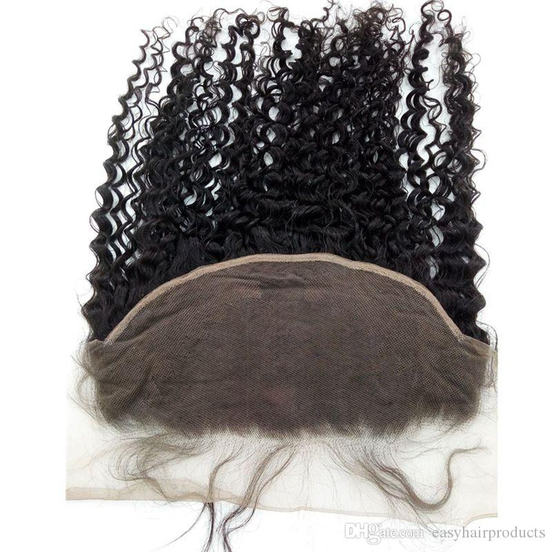 4bundles With Lace Frontal Closure 13x6 Bleached Knots Unprocessed Peruvian Virgin Hair Deep Curly Weaves With Closure G-EASY