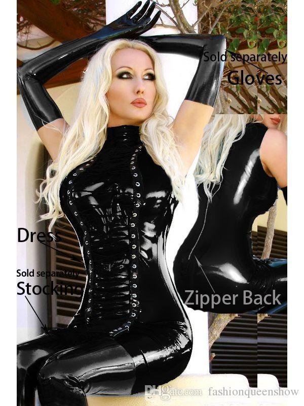 Fast Delivery Women's Sexy Faux Leather Gothic Punk Dress Halloween Black Mini Clubwear Sexy Fetish Stripper Dance Dress