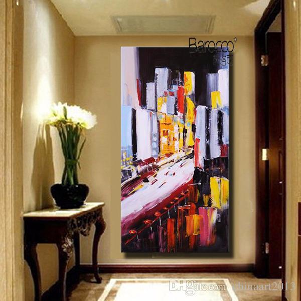 Абстрактный цвет городской пейзаж живопись чистая ручная роспись пейзаж картина маслом на холсте современные стены искусства украшения для дома
