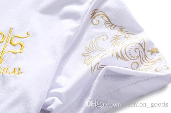 Best gift Summer men 's simple bronzing printing V - neck sports suit large size men' s short sets of T - shirts MT011 Men's Tracksuits