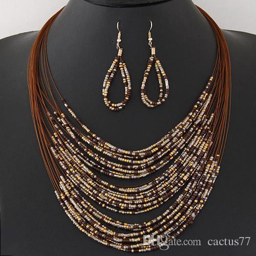 Fashion Bohemian Multilayer Resin Beads Necklace Earrings Tassel Fringe Necklaces Hook Dangle Earrings Jewelry Set Tribal Jewelry