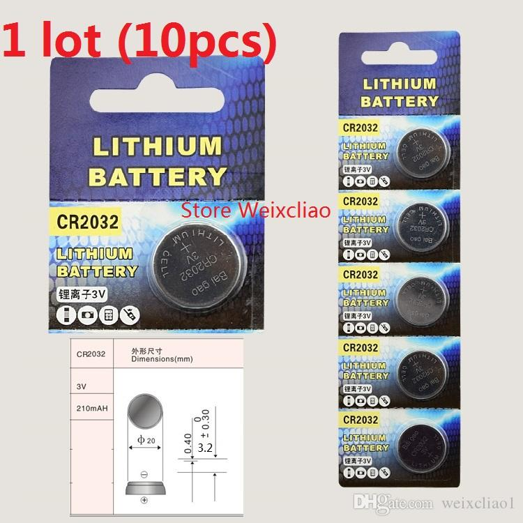 10pcs 1 lot CR2032 3V lithium li ion button cell battery CR 2032 3 Volt li-ion coin batteries Card Free Shipping