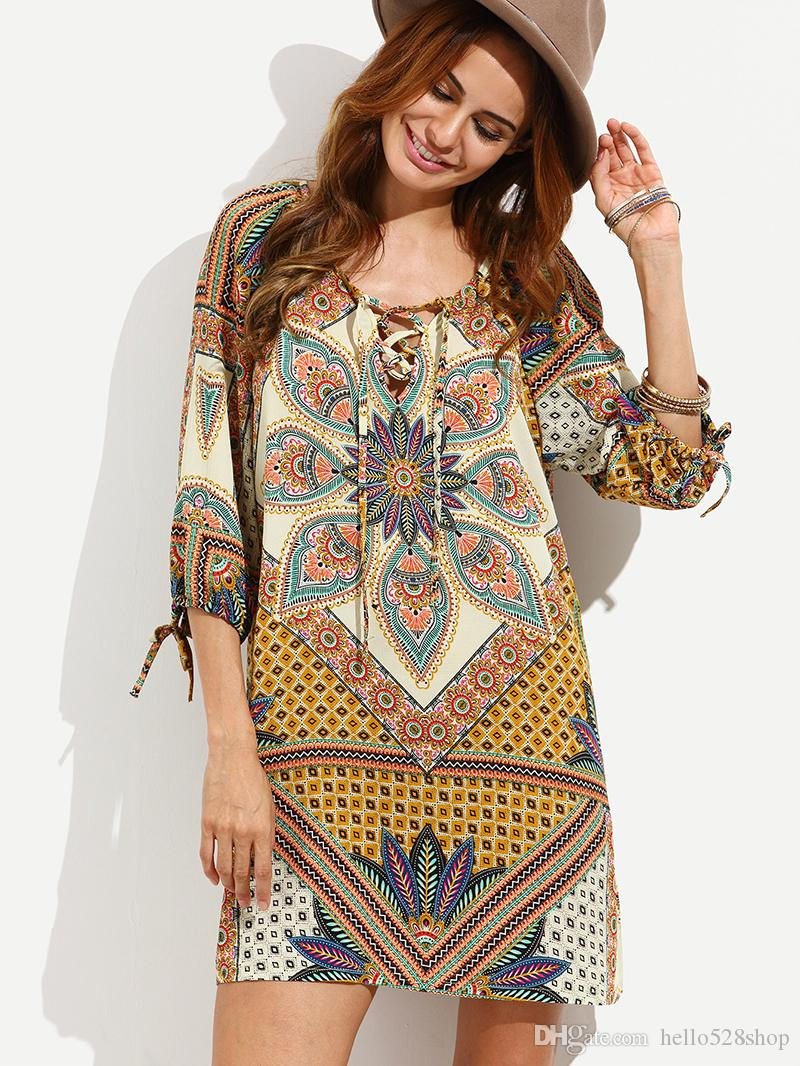 bc5c373eda9d Fashion Retro Style Printing Large Size Loose Flower Sleeves Dresses For Pretty  Ladies Summer Party And Cocktail Dresses Womens Knit Dress From  Hello528shop ...